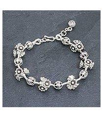 silver beaded bracelet, 'flying flower' (thailand)