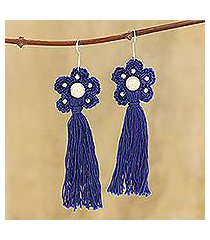 crocheted cotton dangle earrings, 'blue floral tassel' (india)