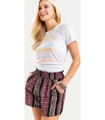narissa smocked printed shorts - black