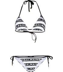 balmain all-over logo print bikini - white