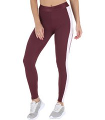 calça legging fila studio rib - feminina - vinho/rosa cla