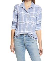 women's caslon plaid button-up shirt, size xx-large - white