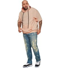 mvp collections men's big and tall short-sleeve hoodie with rose embroidery