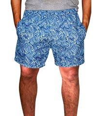 shorts estampado ks tactelc/ bolsos laterais ref. 386.21 azul