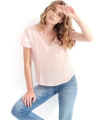 blusa para mujer color rosado, cuello en v, manga corta, semitransparente color-rosa-mag-talla-s