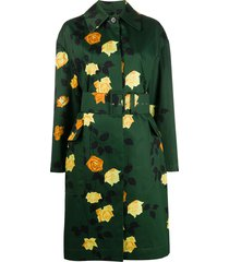 msgm rose-print belted trench coat - green