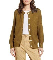 women's alex mill chunky cotton cardigan, size small - beige