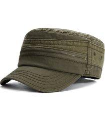 berretto piatto da uomo casual in cotone vintage con zip e cappello casual da esterno