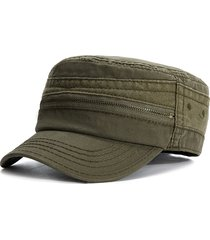 berretto piatto da uomo casual in cotone vintage con zip e cappello casual  per esterno 161355fee271