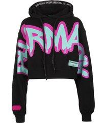 pharmacy industry woman black crop hoodie with graffiti logo
