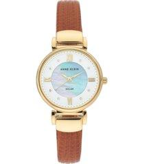 anne klein women's considered solar-powered honey brown vegan leather strap watch 30mm