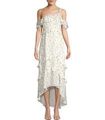 jillian ruffle floral high-low dress