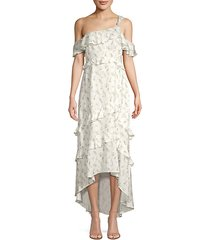 jillian ruffle floral high-low dress