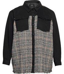 jacket check plus collar buttons doorgestikte jas zwart zizzi