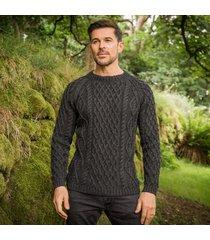 men's sherkin aran sweater charcoal xl