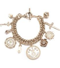marchesa gold-tone pave & imitation pearl charm bracelet