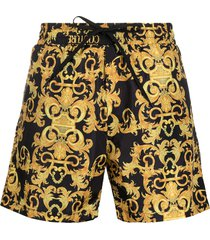 versace jeans couture baroque print swim shorts - black