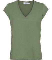 basic tee w. v-neck t-shirts & tops short-sleeved grön coster copenhagen