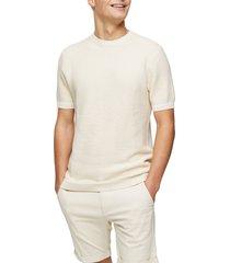 men's topman textured short sleeve crewneck sweater, size medium - ivory