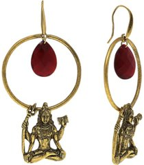 "t.r.u. by 1928 goddess ""shiva"" 14 k gold dipped hoop earring with briolette center"