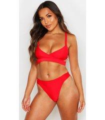 petite mix & match cut out bikini top, red