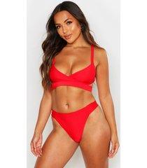 petite mix & match cut out bikini top, red