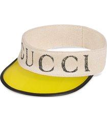 gucci logo print visor - yellow