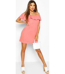 off the shoulder frill swing dress, coral