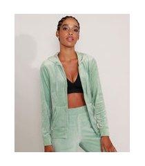 jaqueta de plush esportiva ace com bolso e capuz verde