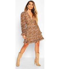 chiffon animal print ruffle skater dress, brown