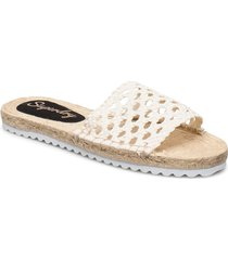 macrame espadrille slide shoes summer shoes flat sandals creme superdry