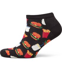 hamburger low sock ankelstrumpor korta strumpor svart happy socks