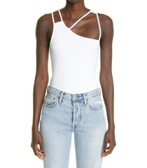 k.ngsley unisex fist geometric cutout ribbed tank, size x-small in white at nordstrom