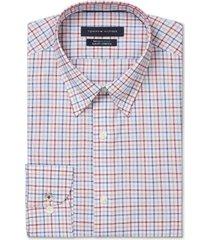tommy hilfiger men's big & tall slim-fit non-iron th flex performance stretch check dress shirt