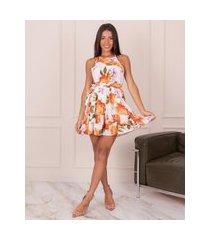 vestido miss misses frente única com estampa floral laranja