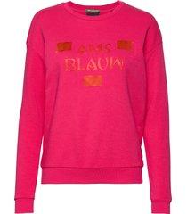 basic sweat with blauw artworks sweat-shirt tröja rosa scotch & soda