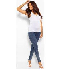 zwangerschap acid wash gebleekte over the bump skinny jeans, middenblauw