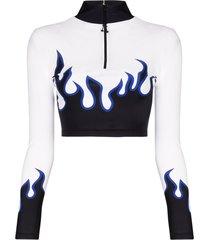 adam selman sport flame print crop top - black