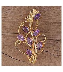 gold plated amethyst brooch, 'golden lilac' (india)