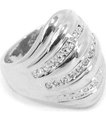 anel bijoulux prateado com detalhe em strass