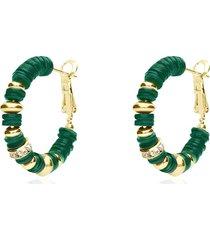 orecchini a cerchio in ottone dorato con elementi in conchiglia verde e strass per donna