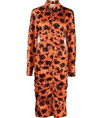ganni floral-print mid-length shirt dress - orange