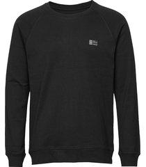 cotton rib stelt badge sweat-shirt trui zwart mads nørgaard