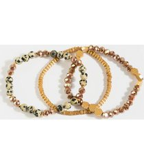 daisy mix stone bracelet set - black/white