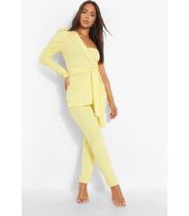 asymmetrische jumpsuit met ceintuur en pofmouwen, lemon