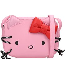 balenciaga kitty clutch in rose-pink leather
