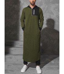 hombres casual otoño soft sudaderas con capucha largas patchwork con capucha