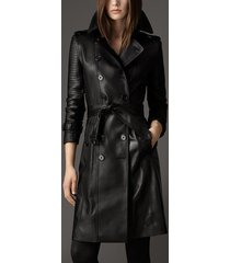 new women black rustic soft leather trench coat genuine lambskin custom fit sale