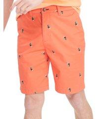 tommy hilfiger men's regular-fit th flex stretch toucan-print shorts