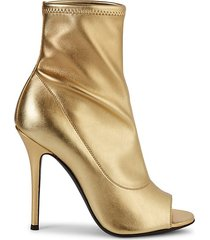 metallic open-toe leather booties